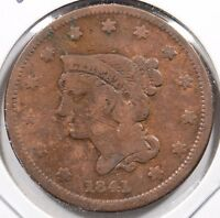 1841 1C BN BRAIDED HAIR CENT GOOD CONDITION 152684