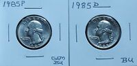 1985 GEM BU & 1985D BU WASHINGTON QUARTERS 5J321WPO & XPO