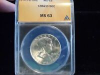 US 1962 D BEN FRANKLIN SILVER HALF DOLLAR ANACS GRADED MS63   GREAT COIN