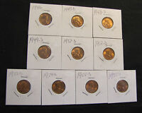 LOT OF 10 HIGH GRADE LINCOLN WHEAT CENTS   1946 1947 D 1948 S 1949 S 1951 D