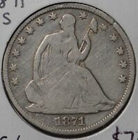 1871 S 50C LIBERTY SEATED HALF DOLLAR GOOD CONDITION 144837