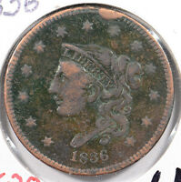 1836 1C BN CORONET HEAD CENT FINE CONDITION 147620