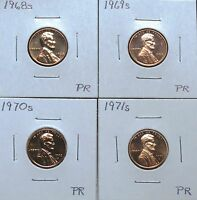 1968S 1969S 1970S & 1971S PROOF LINCOLN CENTS 6J23N O P Q