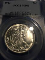 1943 LIBERTY HALF DOLLAR PCGS MS63