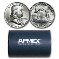 90  SILVER FRANKLIN HALVES $10 20 COIN ROLL BU   SKU 26360
