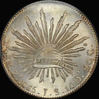 FINEST & ONLY AT PCGS & NGC MS66 1885 ZS JS 8 REALES NGC MS66 MEXICO UBER GEM