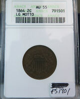 1864 2 CENT ANACS AU55 LG MOTTO FS 1901 CLASH WITH INDIAN CENT BR