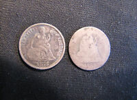 LOT OF 2 SEATED LIBERTY SILVER DIMES   1875 FULL LIBERTY & 1888