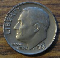 1969 D ROOSEVELT DIME TONED MATTE GRAY/BROWN UNCIRCULATED