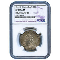 CERTIFIED SEATED LIBERTY HALF DOLLAR 1842 O SMALL DATE XF DETAILS NGC