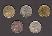 US THREE CENT NICKEL LOT   5 COINS 18652 1866 1868 1869 1881 ALL CIRCULATED
