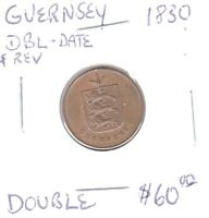 1830 GUERNSEY ONE DOUBLE CHECK PHOTO'S. MINT ERROR: DOUBLE DATE  REVERSE