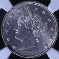 1911 LIBERTY NICKEL NGC MINT STATE 64, FULLY WHITE AND LUSTROUS,  CHOICE BU,