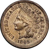 1865 PLAIN 5 INDIAN CENT BRILLIANT UNCIRCULATED BU DETAILS. RED/BROWN RB