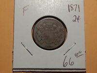 1871 2 CENT PIECE, FINE GRADE,  EARLY COIN