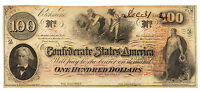 $100 DOLLARS LARGE CONFEDERATE CURRENCY1862 SLAVES T41 BILL OLD PAPER MONEY NOTE