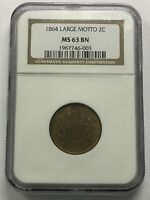 1864 2C TWO CENTS LARGE MOTTO NGC MINT STATE 63 BN