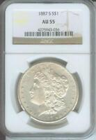 1887-S MORGAN SILVER DOLLAR S$1 NGC AU55  BEAUTIFUL
