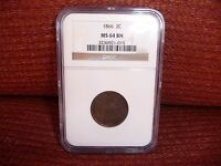 1866 NGC MINT STATE 64 BN BROWN TWO CENT