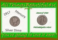 1917 SECOND YEAR OF ISSUE MERCURY SILVER DIME