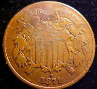 1871 TWO CENT PIECE 2C  BETTER DATE COIN  SOLID DETAILS  MY21