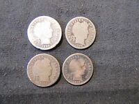 LOT OF 4 BARBER SILVER DIMES   1892 1898 1909 D 1916 S
