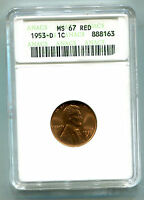 1953-D LINCOLN CENT ANACS MINT STATE 67 RED