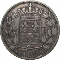 1830 FRANCE 5 FRANCS B ROUEN   CHARLES X   GREAT SILVER COIN