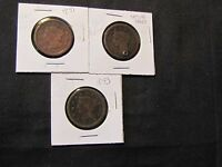 LOT OF 3 LARGE CENTS   1851 1853 AND HOLED/UNREADABLE