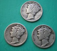 1936 1937 & 1939 SILVER MERCURY DIMES   LOT OF THREE COINS