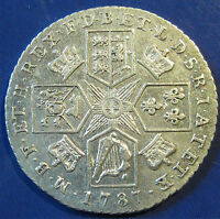 1787 WITH HEARTS 1/  GEORGE III SILVER SHILLING IN A LOVELY GRADE