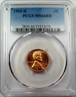 1955 D LINCOLN WHEAT CENT PCGS MS 66 RD