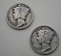 1935 D & 1936 D LOT OF TWO  MERCURY DIMES