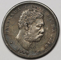 1883 HAWAII SILVER HALF 1/2 DOLLAR 50 CENT COIN XF ORIGINAL TONED KING KALAKAUA