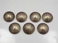 DOMED HALF DOLLAR SILVER COIN BUTTONS, 1940S WALKING LIBERTY & EAGLE, 7 PIECES