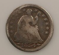 1854 P SEATED LIBERTY SILVER HALF DIME G12