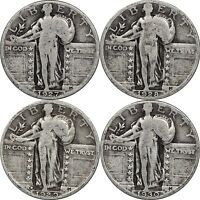 1927, 1928, 1929-D & 1930 STANDING LIBERTY QUARTERS, VG TO FINE, LOT OF 4 COINS