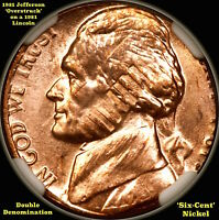 1981 P JEFFERSON OVERSTRUCK ON A 1981 LINCOLN   MS65RB    MINT ERROR