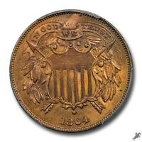 1864 2C SMALL MOTTO TWO CENT PIECE PCGS MINT STATE 64RB