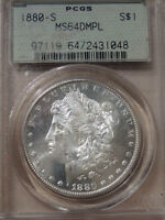 1880 S MS64DMPL  PCGS MORGAN SILVER DOLLAR IN AN OGH FROSTY FACE