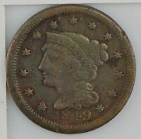 1849 BRAIDED HAIR LARGE CENT Z20