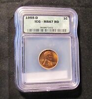 1955 D LINCOLN WHEAT CENT ICG MS67 RD