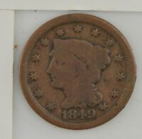 1849 BRAIDED HAIR LARGE CENT Z14