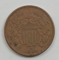 1864 TWO-CENT PIECE, CIVIL WAR DATE G60