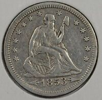 1853 25C ARROWS AND RAYS LIBERTY SEATED QUARTER EXTRA FINE 144335