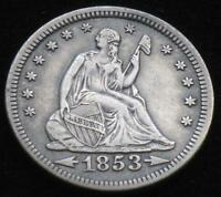 1853 SILVER SEATED LIBERTY QUARTER WITH ARROWS CIRCULATED