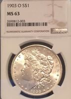 1903-O $1 NGC MINT STATE 63 - FLASHY, WHITE LOW MINTAGE DATE - MORGAN SILVER DOLLAR