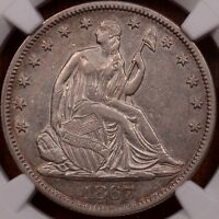 1867 WB 101 LIBERTY SEATED HALF NGC AU50 LIGHT GOLD LUSTER  DAVIDKAHNCOINS