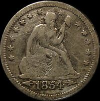 1854 O LIBERTY SEATED QUARTER FINE DETAILS CLEANED HARSHLY