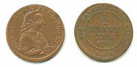 MAINZ   FRIEDRICH KARL JOSEF 1774 1802 COPPER 1/2 KREUZER 1795 S IA KM403